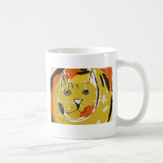 Big yellow cat's face classic white coffee mug