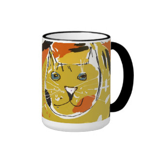 Big yellow cat's face ringer coffee mug