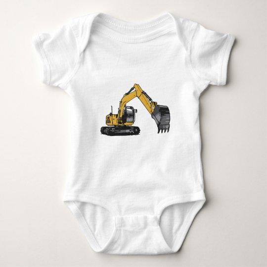 Big Yellow Excavator Baby Bodysuit