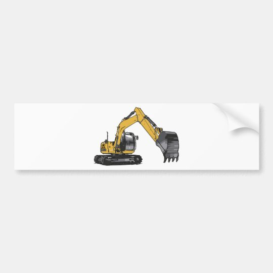 Big Yellow Excavator Bumper Sticker