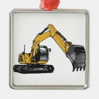 Big Yellow Excavator Square Metal Christmas Ornament