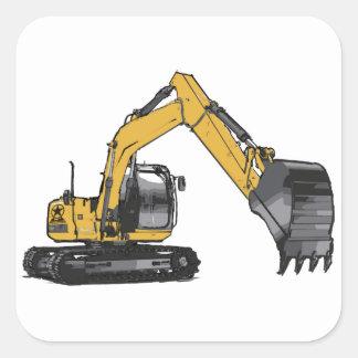 Big Yellow Excavator Square Sticker
