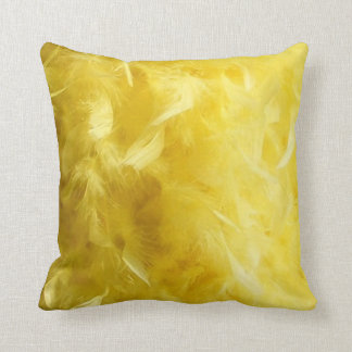 Big Yellow Feathers Throw Pillow