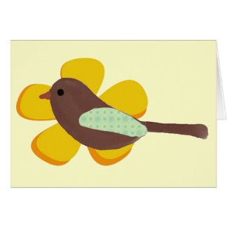 Big Yellow Flower and Little Brown Bird Note Card