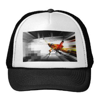 big yellow grasshopper abstract photo edit trucker hat