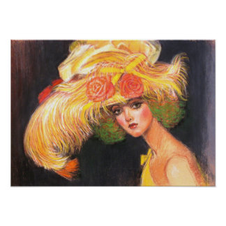 Big Yellow Hat Victorian Fashion Lady Poster Print