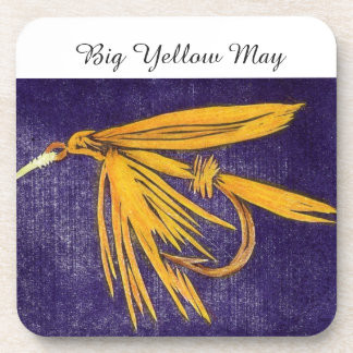 """""""Big Yellow May"""" Trout Wet Fly Coaster"""
