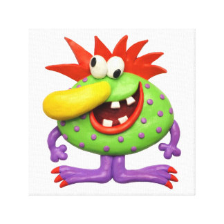 Big Yellow Nose Monster Stretched Canvas Prints