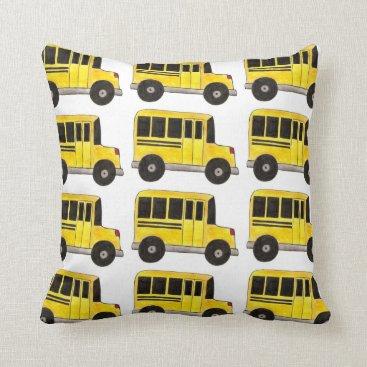Beach Themed Big Yellow School Bus Driver Teacher Gift Pillow