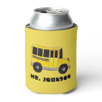 Big Yellow School Bus Personalized Bus Driver Can Cooler