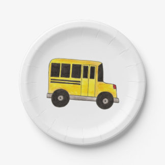 Big Yellow School Bus Teacher Driver Paper Plates