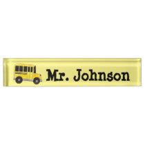 Big Yellow School Bus Teacher Principal Driver Desk Name Plate