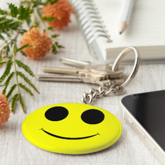 Big Yellow Smiley Face-Button Keychain