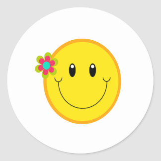 Big Yellow Smiley Face Classic Round Sticker