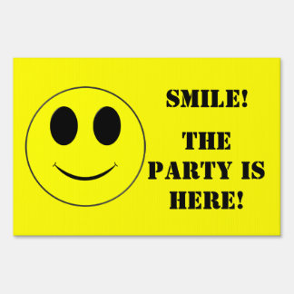 Big Yellow Smiley Face-Party Sign