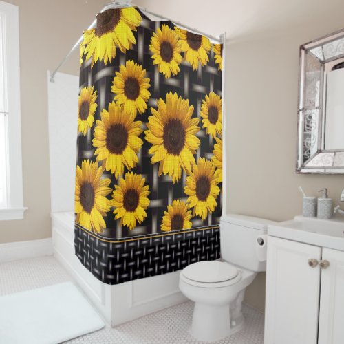 Big Yellow Sunflower Industrial Grid Weave Pattern Shower Curtain