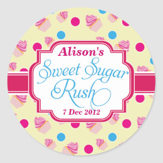 Big yellow Sweet Sugar Rush Cute Cupcake Stickers
