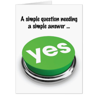 Big Yes Button Valentine's Day Card