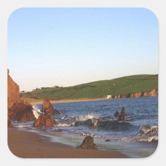 Bigbury en el mar pegatina cuadrada
