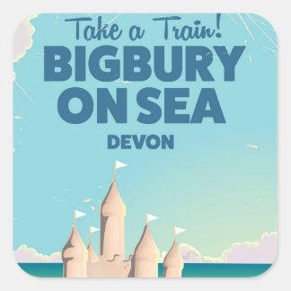 Bigbury en el poster del viaje del vintage de pegatina cuadrada