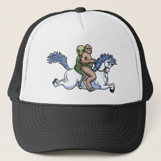 Bigfoot, Alien, Unicorn Trucker Hat