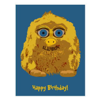 Bigfoot amarillo lindo con los ojos azules grandes postal