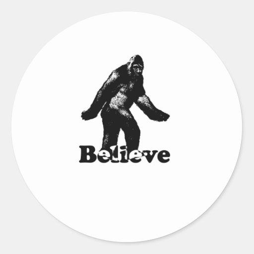Bigfoot Believe Round Stickers