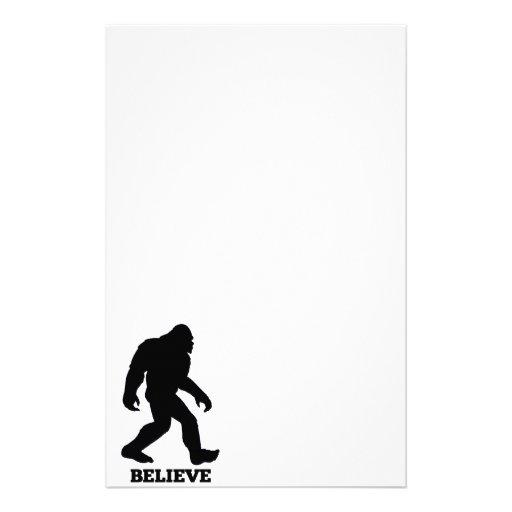 Bigfoot BELIEVE Sasquatch Stationery Design