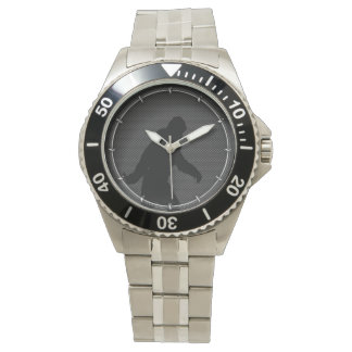Bigfoot Black Silhouette Carbon Fiber Style Wrist Watches