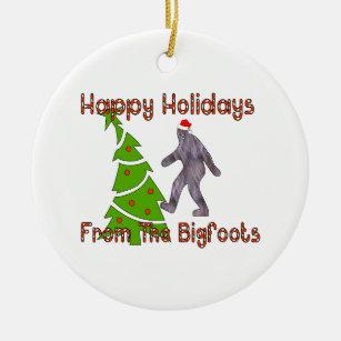 bigfoot christmas ceramic ornament - Bigfoot Christmas Ornament
