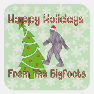 Bigfoot Christmas Square Sticker