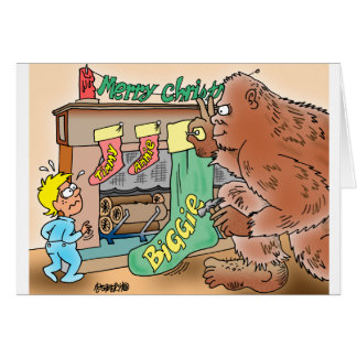 Bigfoot Christmas Stocking Greeting Card