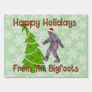 Bigfoot Christmas Lawn Sign