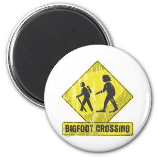 Bigfoot Crossing 2 Inch Round Magnet
