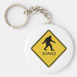 Bigfoot Crossing Sign Key Chains
