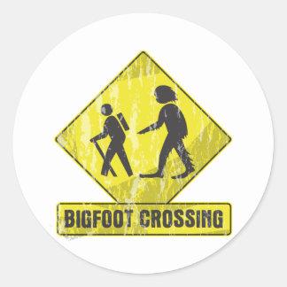 Bigfoot Crossing Classic Round Sticker