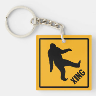 Bigfoot Crossing Traffic Sign Double-Sided Square Acrylic Keychain