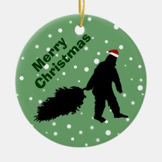 Bigfoot divertido que tira del ornamento del árbol adornos