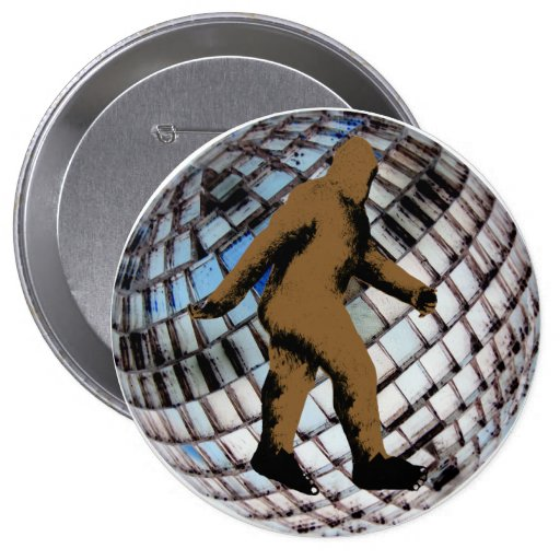 Bigfoot en la bola de discoteca pin redondo de 4 pulgadas