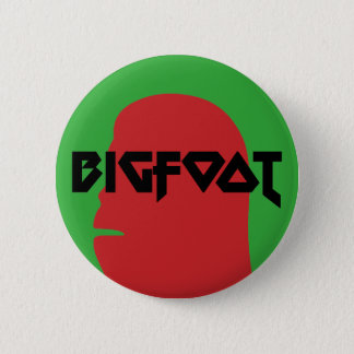 Bigfoot Face and Text - Red and Black Stencil Pinback Button
