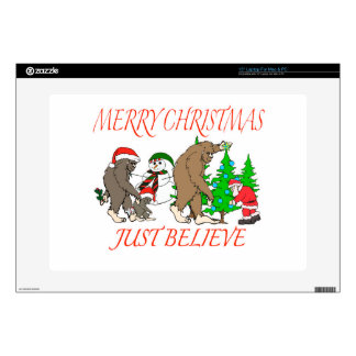 """Bigfoot Family Christmas 2 Decal For 15"""" Laptop"""