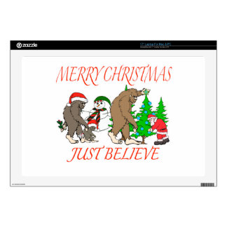 """Bigfoot Family Christmas 2 Skins For 17"""" Laptops"""