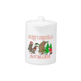 Bigfoot Family Christmas 2 Teapot