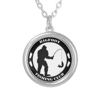 Bigfoot Fishing Club Round Pendant Necklace