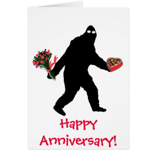 Bigfoot happy anniversary cards zazzle