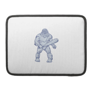 Bigfoot Holding Club Standing Drawing Sleeve For MacBook Pro