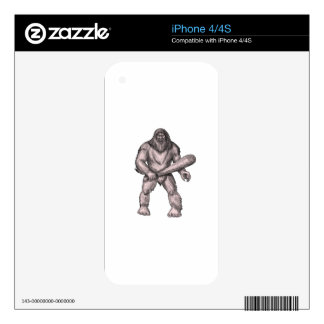 Bigfoot Holding Club Standing Tattoo Decal For iPhone 4S