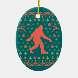 Bigfoot Holiday Sweater Tees Ceramic Ornament