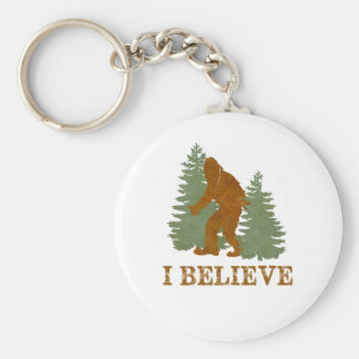 Bigfoot I believe Basic Round Button Keychain