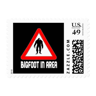 Bigfoot in Area Warning Sign Postage